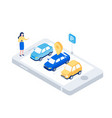 car sharing isometric concept vector image