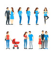 cartoon characters family pregnancy parents and vector image vector image