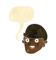 cartoon man with big chin with speech bubble vector image vector image