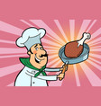 chef cook character with roasted meat vector image