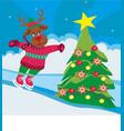 christmas reindeer with scarf skates - card vector image