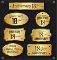 collection of anniversary retro gold labels 18 vector image vector image