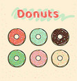 colorful set of glazed donuts with caramel and vector image