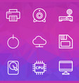 computer icons line style set with print webcam vector image vector image