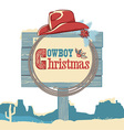 Cowboy christmas text on wood board isolated on vector image vector image