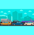 downtown traffic jam vector image
