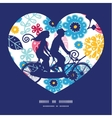 fairytale flowers couple on tandem bicycle heart vector image vector image