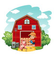 farm scene with boy and pig on vector image vector image