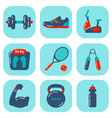 Fitness Icons Flat 2 vector image vector image