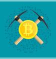 golden bitcoin and pickaxe vector image vector image