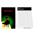 halloween notepad with witch vector image