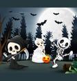 happy kids wearing halloween costume in the night vector image vector image