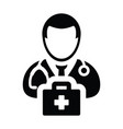 health icon male doctor person profile avatar sign vector image vector image