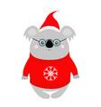 koala in red santa hat ugly sweater glasses merry vector image vector image