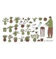 kokedama set doodle asian plant collection