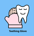 line icon of teething glove vector image