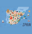 map spain with touristic landmarks or sights vector image