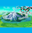 picturesque japanese nature landscape background vector image