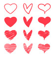pink heart hand draw doodle style vector image