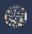 san francisco hand drawn flat with symbols vector image vector image