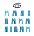 sheet of sprites rotation of cartoon 3d letter m vector image vector image