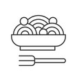 spaghetti or pasta food outline icon vector image vector image