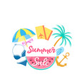 summer sale poster with watermelon sun umbrella vector image vector image