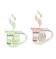 Tea tags cloud with cup shape vector image vector image
