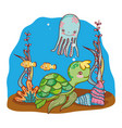 tropical sea animals with seaweed plants vector image vector image