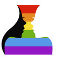 two girls silhouettes and lgbt flag vector image