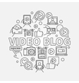 Video blog round linear vector image