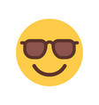 yellow smiling cartoon face in sun glasses emoji vector image vector image