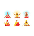yogi men characters set meditating people in yoga vector image vector image