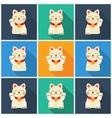 Set Maneki-neko cat flat vector image
