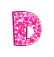 english pink letter d on a white background vector image