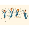 Group of people celebrating a victory vector image