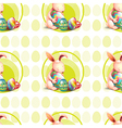 A seamless design with bunnies hugging the eggs vector image vector image