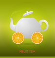 abstract fruit tea teapot orange slices vector image vector image