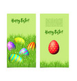 banners with easter eggs and green grass vector image vector image