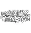 bargain shopper text word cloud concept vector image vector image