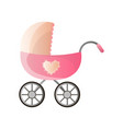 big pink stroller for newborns with side decor vector image