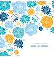 Blue and yellow flower silhouettes corner decor vector image vector image