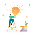 businessman climbing on ladder with big light bulb vector image