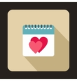 Calendar with heart icon flat style vector image