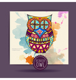 Card with decorative owl and watercolor stain vector image vector image