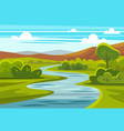 cartoon landscape with mountains river and trees vector image vector image