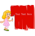 Cartoon little girl painting the wall with red vector image vector image