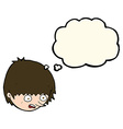cartoon stressed face with thought bubble vector image vector image