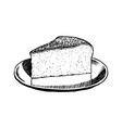 cheesecake piece hand drawn vector image