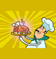 chef cook character with roast poultry vector image